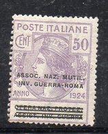 Y44 - REGNO 1924 ,  Sassone  N. 70 * Linguella  (M2200). ASSOC.NAZ.MUTIL.INV.GUERRA-ROMA - Franchigia