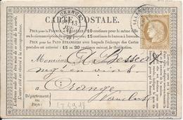LT4918  N°55/carte Postale, Oblit Cachet à Date De Allevard, Isère (37) Pour Orange, Vaucluse (86) Du 12 Juil 1876 - 1871-1875 Cérès