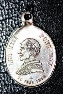 """Pendentif Médaille Religieuse Argent 800 Fin XIXe """"Pape Léon XIII / Médaille Miraculeuse"""" Religious Medal - Religion & Esotérisme"""