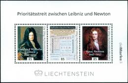 """LEIBNIZ - NEWTON - Liechtenstein 2016, MNH ** - Calculus Controversy,  Mathematics - """"die Marke"""" - Sciences"""