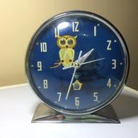 REVEIL VINTAGE SHANGHAI- CADRAN BLEU AVEC CHOUETTE REVEIL QUI FONCTIONNE - Alarm Clocks