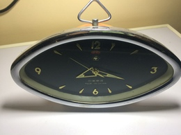 REVEIL LOSANGE VINTAGE CHINA- CADRAN NOIR + CHROME+ ALARME- REVEIL QUI FONCTIONNE - Alarm Clocks