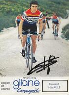 CARTE CYCLISME BERNARD HINAULT SIGNEE TEAM GITANE 1975 - Cycling