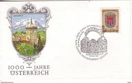 FDC 1976 - Mi.1527 (1) : 1000 Jahre Österreich - Vorarlberg , SST 5400 Hallein - 1945-.... 2nd Republic