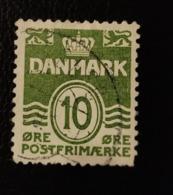 Danemark 1921 DK 135 Wavy Lines Animaux Héraldiques | Animaux Stylisés | Chiffres | Couronnes Et Diadèmes - Oblitérés