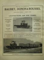 Train LOCOTRACTEUR  Baudet Donon &Roussel  -  Page De 1925 Catalogue Sciences & Tech. (Dims. Standard 22 X 30 Cm) - Chemin De Fer