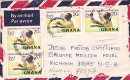 GHANA CIRCULATED ENVELOPE, TO MICHIGAM, USA IN 1982 BY AIRMAIL -LILHU - Ghana (1957-...)