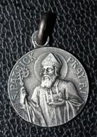 """Pendentif Médaille Religieuse Argent 800 """"Saint Patrick / Lourdes"""" Religious Medal - Religion & Esotérisme"""