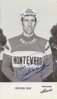 CARTE CYCLISME VENTURA DIAZ TEAM MONTEVERDE 1975 ( DETERIORÉE LES PICS EN PARTIE ARRIERE ) - Cycling