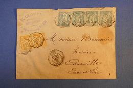 A6 FRANCE BELLE LETTRE 1882 PARIS A COURVILLE EURE ET LOIRE  + BEL AFFRANCHISSEMENT - 1876-1898 Sage (Type II)