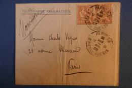A6 FRANCE BELLE LETTRE 1903 PNEUMATIQUE PARIS AV MARCEAU  + AFFRANCHISSEMENT PLAISANT AVEC PAIRE DE TIMBRES - France