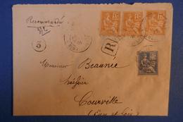 A7 FRANCE BELLE LETTRE 1901 RECOMMANDé PARIS BD MALESHERBES A COURVILLE + CACHETS MULTIPLES - France