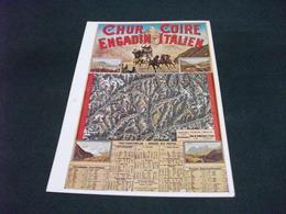 CARTA GEOGRAFICA CARROZZA DILIGENZA A CAVALLI HORSE  CHUR COIRE ENGADIN ITALIEN SVIZZERA - Carte Geografiche