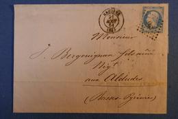 A10 FRANCE LETTRE 1861 BAYONNE POUR ALDUDES PYRENNEES + CACHETS  CLAIRS - 1853-1860 Napoleon III
