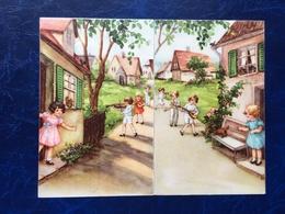 """2 Cpa--""""Village Avec Enfants Musiciens Jouant Sur Chemin Vers Leur Amie""""--(1156) - Scènes & Paysages"""