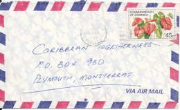 Dominica Air Mail Cover Sent To Montserrat 19-3-1986 Single Franked Flower - Dominique (1978-...)