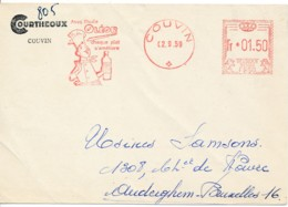Carte De Courtheoux Avec EMA Couvin 02.9.59 – Pub Huile Oléor - Cuisinier - Postmark Collection