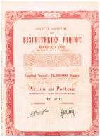 Titre Ancien - Sté Anonyme Des Biscuiteries Paquot  - Titre De 1952 - - Industrie