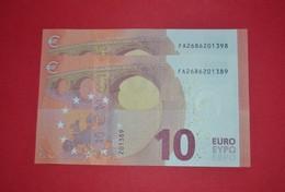 2x 10 EURO - F002 G5 (PAREJA RADAR) F002G5 - FA2686201389 / FA2686201398 - UNC - NEUF - FDS - EURO