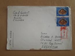 Enveloppe Colombienne Diffusée En Argentine Avec Des Timbres D'archéologie - Colombie
