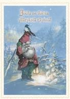 Brownie - Gnome - Elf Holding A Magpie - Raimo Partanen - Christmas