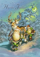 Brownies - Gnomes - Elves Coming With Reindeer - Raimo Partanen - Christmas