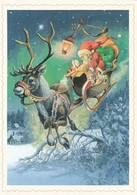 Brownie - Gnome - Elf Riding With Reindeer Sleigh - Raimo Partanen - Christmas