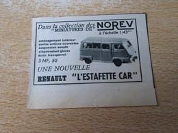 SPI2020 : NOREV VOITURES  MINIATURES : ESTAFETTE CAR  -  Pour  Collectionneurs ... PUBLICITE - Norev