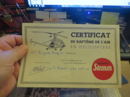 Certificat De Bapteme De L'air  En HELICOPTERE - Documents Historiques