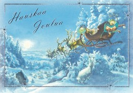 Santa Claus Driving Reindeer On Sled On The Sky  - Raimo Partanen - Kerstmis