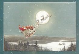 Santa Claus Driving Reindeer On Sled On The Sky  - Raimo Partanen - Double Card - Christmas