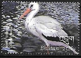 BHUTAN - MNH 2002 -  Birds Of Bhutan -   White Stork  -  Ciconia Ciconia - Storks & Long-legged Wading Birds