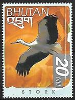 BHUTAN - MNH 1999 -  Birds Of The Himalayas :   White Stork  -  Ciconia Ciconia - Storks & Long-legged Wading Birds