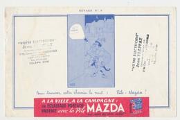 """Buvard 20.8 X 13.4 La Pile MAZDA éclairage Portatif Illustrateur Dubout N° 6 Cachet """"Votre électricien  Jean Frappat...* - Electricité & Gaz"""