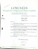 FACTURE - TEXTILE VESTIMENTAIRE - ETS LIMONDIN - MANUFACTURE DE LINGE HOMMES ET ENFANTS FLEURY LES AUBRAIS - Kleding & Textiel