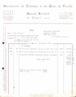 FACTURE - TEXTILE VESTIMENTAIRE -  MANUFACTURE DE CHEMISES GILETS DE FLANELLE - MAURICE BERNARD A LE BLANC INDRE - Textile & Vestimentaire