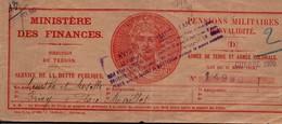 Pensions Militaires D'invalidité - Guerre 1939 - Livret Oblitéré Briey 1948 - Finances Dette Publique - Documents