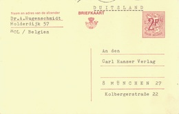 BELGIUM. POSTAL STATIONARY TO GERMANY. 1968. - Enteros Postales