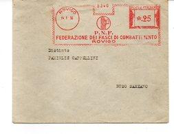 1936 EMA Affrancatura Meccanica Rossa Freistempel Rovigo P.N.F. Federazione Dei Fasci Combattimento - Marcofilia - EMA ( Maquina De Huellas A Franquear)
