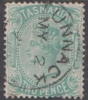 Australia-Tasmania SG 145 1872 Two Pence Green,used,toned Perf - Gebruikt