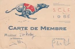 CARTE DE MEMBRE ADHERENT DE 1955 D'UN CLUB DE LEVRIERS S.C.L.F - Visiting Cards