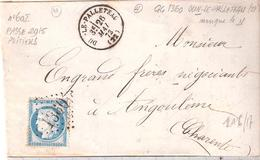 Creuse :- DUN LE PALLETEAU G.C.1360 Dateur Type 16 Au Dos Bureau De Passe 2915 De POITIERS - 1849-1876: Période Classique