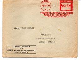 1942 EMA Affrancatura Meccanica Rossa Freistempel Roma Consorzio Naz. Credito Agrario Di Miglioramento - Marcofilia - EMA ( Maquina De Huellas A Franquear)