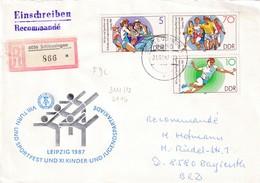 Germany DDR Registered Cover 1987: Sport Gymnastics; Tug Of War; Athletics Running; Handball - Stamps