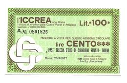 1977 - Italia - ICCREA - Past. Treccia D'Oro Di Signorini Renato - Thiene - [10] Assegni E Miniassegni