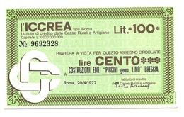 """1977 - Italia - ICCREA - Costruzioni Edili """"Piccini Geom. Lino"""" Brescia - [10] Assegni E Miniassegni"""