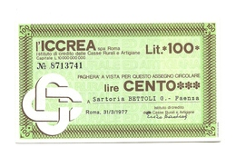 1977 - Italia - ICCREA - Sartoria Bettoli G. - Faenza - [10] Assegni E Miniassegni