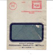 1931 EMA Affrancatura Meccanica Rossa Freistempel Milano S.A. Ferdinando Zanoletti Metalli Milano Senza Cornice - Marcofilia - EMA ( Maquina De Huellas A Franquear)