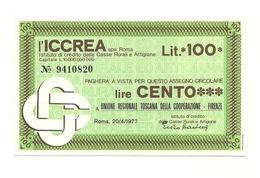 1977 - Italia - ICCREA - Unione Regionale Toscana Della Cooperazione - Firenze - [10] Assegni E Miniassegni
