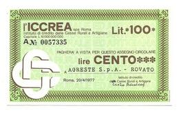 1977 - Italia - ICCREA - AGRESTE S.p.A. - Rovato - [10] Assegni E Miniassegni